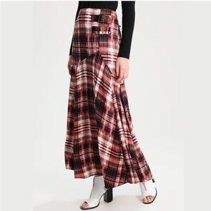 FREE PEOPLE season of the wind plaid maxi skirt M